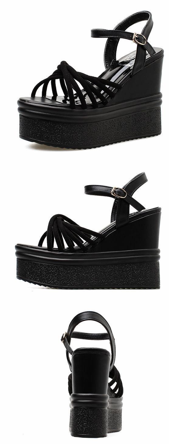 Sandalias elegantes bajo bajo bajo zapatillas negro 12 cm plataforma cómodo como piel 8408  envío gratuito a nivel mundial