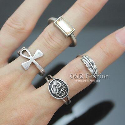 4x Silver Egyptian Ankh Cross Buddhist Om Ohm Aum Feather Leaf Gemstone Ring H6