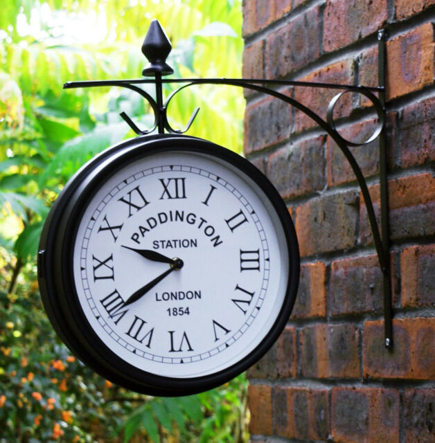 27cm Outdoor Garden Paddington Station Wall Clock Outside Bracket Double Sided
