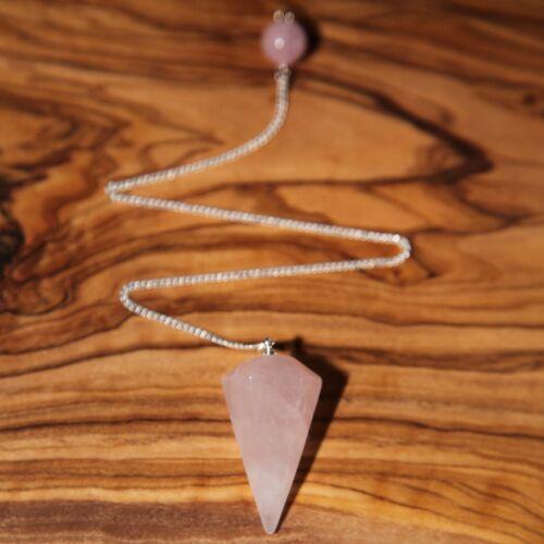 Natural Rose Quartz Pendulum Scrying Dowsing 43mm Love Healing Calm Positivity