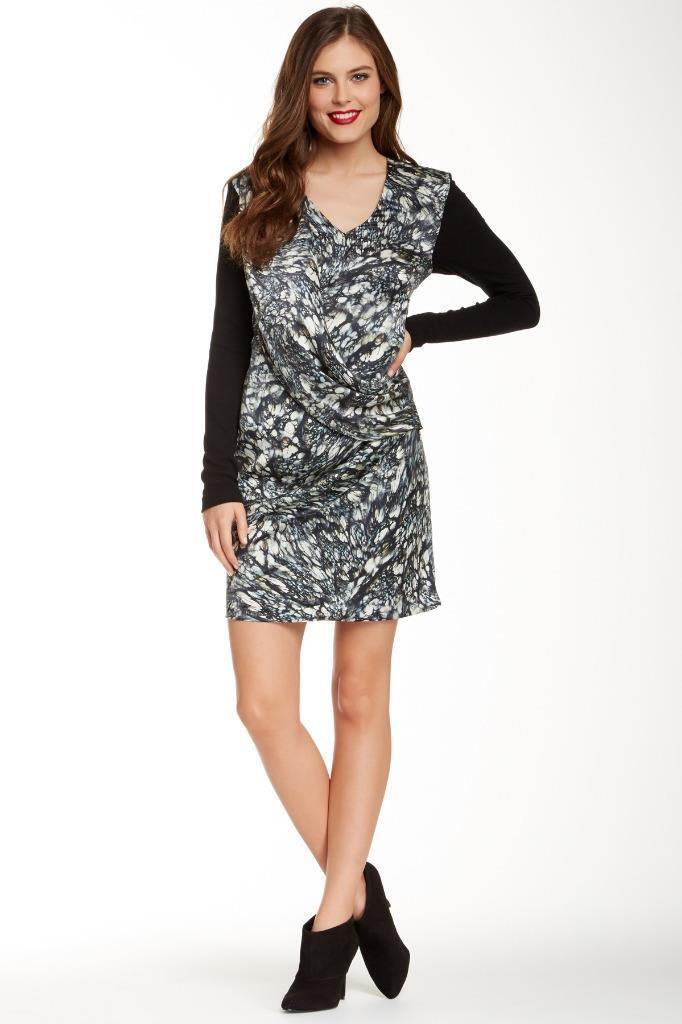 NWT Nicole Miller Artelier Gabi Printed Silk Draped Dress 6