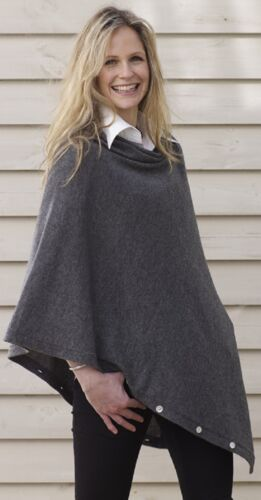 Buttoned PONCHO, CASHMERE Button PONCHO CHARCOAL GREY Wrap One Size Fits all