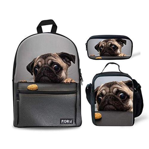 Kids Pug Backpack Canvas Shoulder Bookbag Mens Boys Rucksack Lunch Bag Pen Case