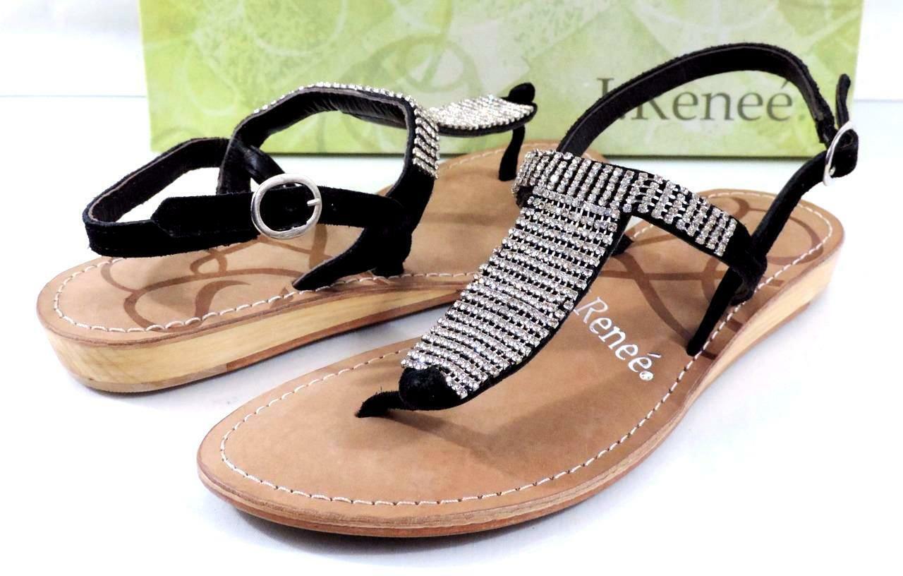 J. Renee Renee Renee Stella bajo cuña para mujer Correa T Sandalias De Diamantes De Imitación Gamuza Negro Talla 7.5  tienda en linea