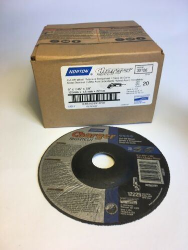 """Box Of 20 Norton Charger Right Cut Cut Off Wheel 5"""" X .045 X 7//8"""""""