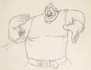 1938 RARE DISNEY MICKEY MOUSE GIANT ORIGINAL PRODUCTION ANIMATION DRAWING CEL