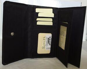 Rolfs Zip back Ladies wallet Genuine leather Dark Brown purse mini organizer New