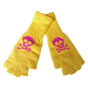 New Wave Gothic Emo Punk 80s 90s Pink Yellow Womens Skull Fingerless Knit Gloves