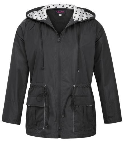 HN Plus Size Womens Lightweight Waterproof Long Sleeve Hooded Rain Coat 0X~4X