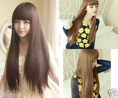 Femme Fille Longue Raide complète Perruque Cosplay Party Cheveux 4 Couleurs Wig