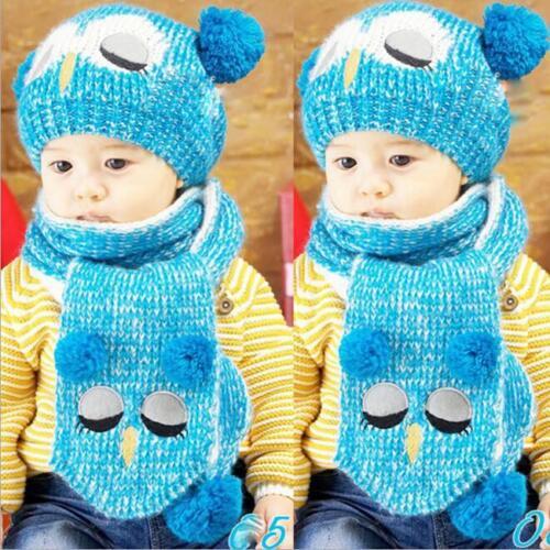Car Baby Boys Girl Kid Winter Warm Hats Scarf and Cap Set Earflap Beanie Gift N7