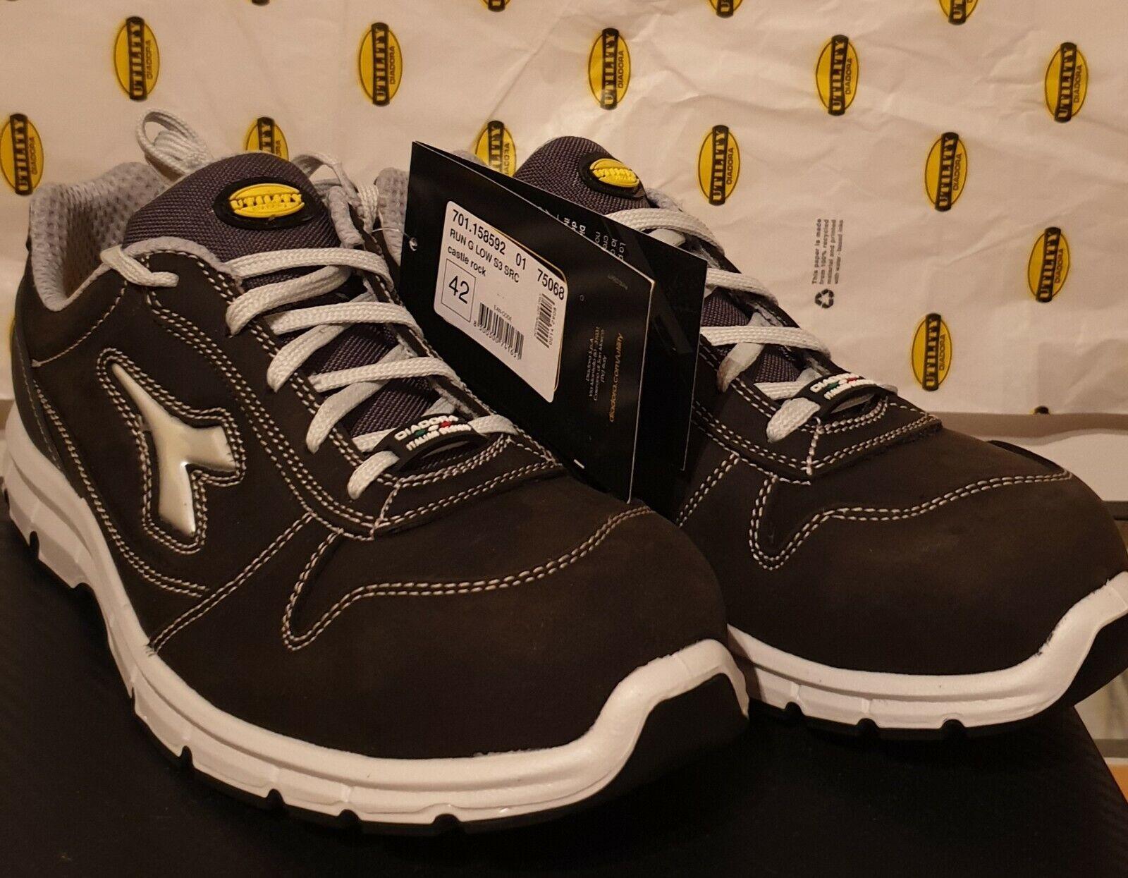 **SALE** Diadora Utility Run Low S3 SRC Castle Rock Safety Shoe UK 8 Grey Suede