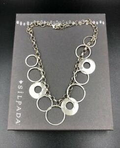 Silpada-Sterling-Silver-Hammered-Circle-Disc-Rolo-Link-Necklace-N1325-S7