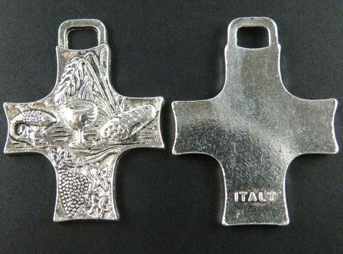 6pcs Tibetan silver ornate cross charm pendants FC8692