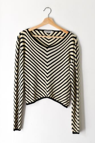 Vintage CHRISTIAN DIOR Black White Chevron Striped