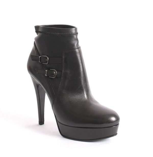 Mani 9494 Black Leather Stretch Platform Buckles Pull-On Ankle Boots Boots Boots 40   US 10 a7bfa3