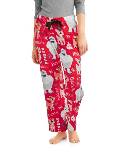 c6b29a6c040e Rudolph reindeer pajamas womens small pants abominable clarice red nose new  F9