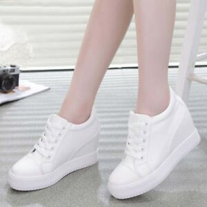 a2d5b1b6471c Image is loading Hidden-Wedge-Heel-Trainers-Womens-Platform-Creeper-Lace-