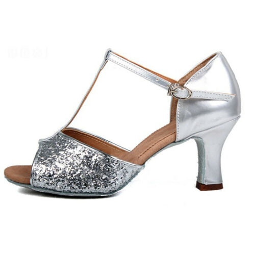Women Latin Shoes Ladies Ballroom Tango Party Dance Shoes Low-heeled Sequins