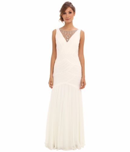 Adrianna Papell Ivory V-Neck Shirred Jewelry Illusion Gown NWT Size 6 8 10 $320