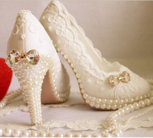 bellissimo NUOVA linea donna fashion fashion fashion bianca Pearl Bow BUD seta pizzo sposa matrimonio tacco alto scarpe  classico senza tempo