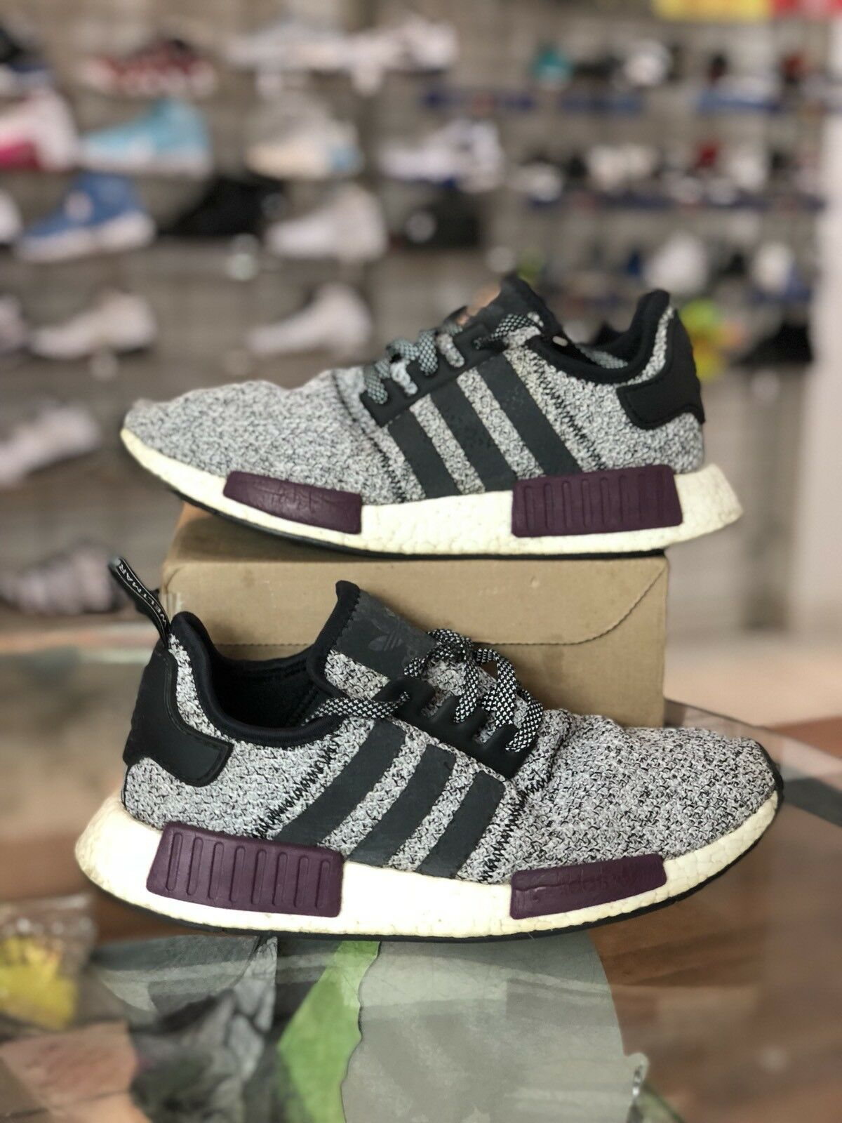 Adidas NMD R1 Champs Exclusive Grey Burgundy Men's Size 10