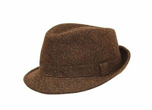 BRAND NEW MEN S BROWN COUNTRY CLASSIC TWEED TRILBY FEDORA HAT BR67 ... c6713118ded1