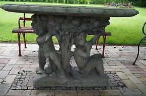 Grosser Gartentisch Platte Getragen Von Putten Steintisch Park Ebay
