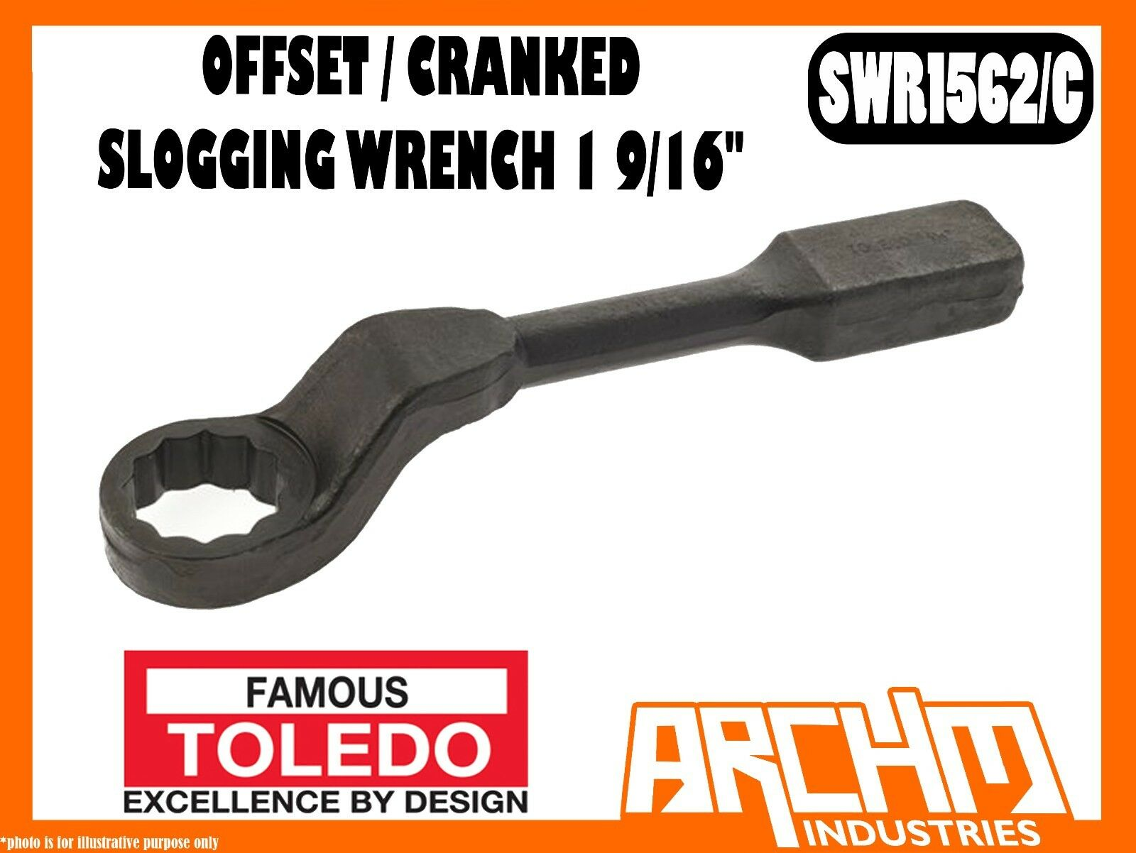 TOLEDO SWR1562 C - OFFSET   CRANKED SLOGGING WRENCH 1 9 16  - IMPERIAL