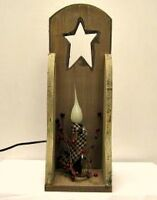 Primitive Country Tan Wood Star Berries Electric Candle Light Wall Sconce