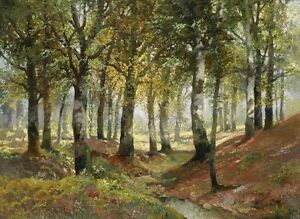 Forest-Scenery-Landscape-Oil-painting-Art-Giclee-Printed-on-canvas-P451