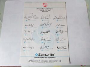 WEST-Indies-World-Cup-CRICKET-Team-1987-Pre-PRINTED-Autographed-Sheet