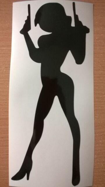 sexy gun girl gangster babe car sticker logo vinyl graphics decals fun wall art