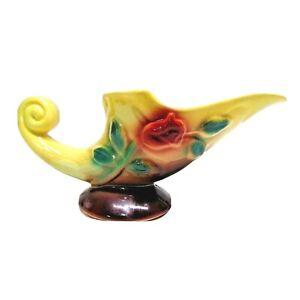 McCoy Pottery Cornucopia Planter Home Decor Yellow Red Rose Marked 855 USA