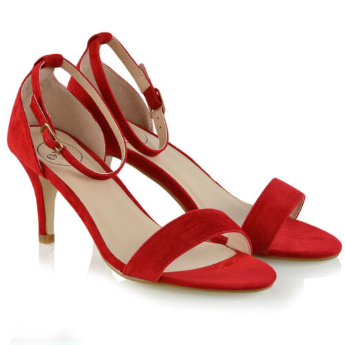 Womens Low Heel Stiletto Sandals Ladies Peep Toe Party Prom Ankle Strap Shoes