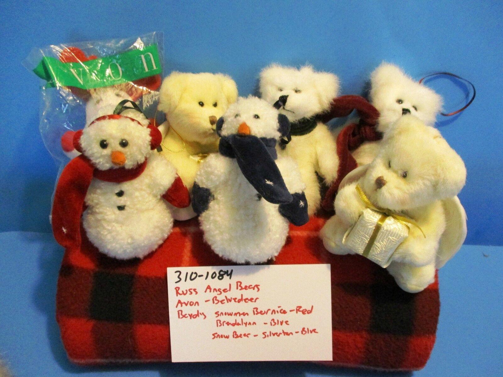 Boyd's ,Avon, Russ Christmas Ornament Bears plush lot of 8  310-1084