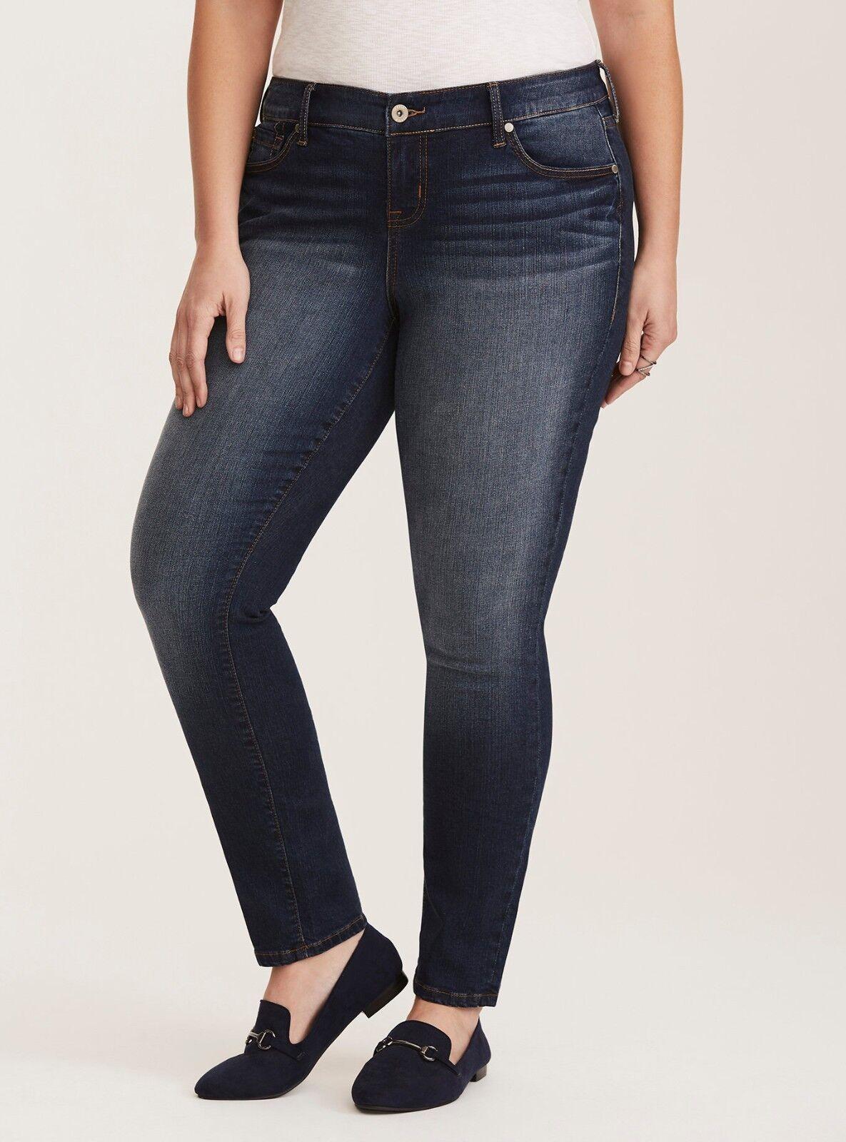 Torrid Skinny Jeans Size 22 Classic Fit Dark Wash Fading Plus Regular