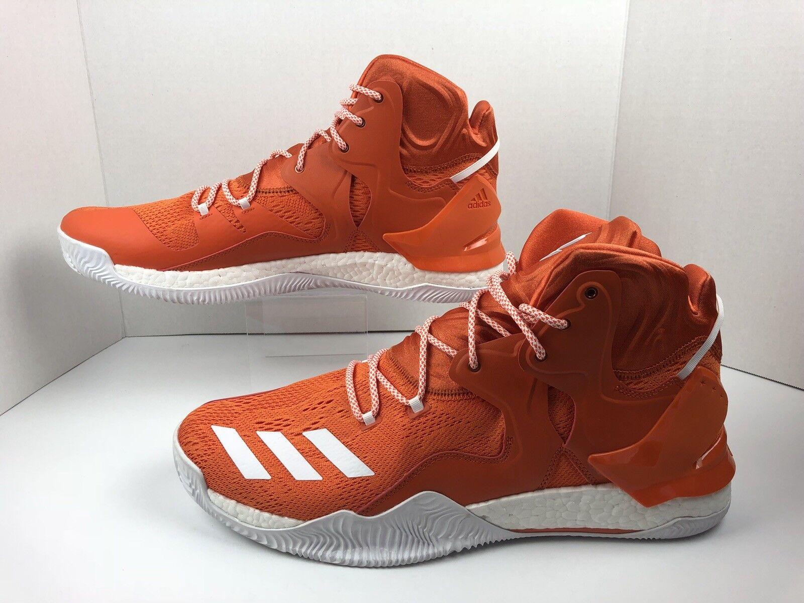 Adidas D pink 7 Boost Primeknit Performance Basketball shoes B38925 orange Sze 17