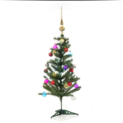 Baubles /& Topper Decorations Artificial Indoor Christmas Tree With LED Lights