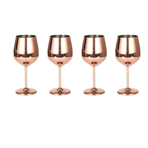4 Stück Edelstahl Weingläser Rot Weiß Wein Becher Champagner Bar