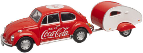 820060 Atlas 1:43 COCA-COLA 1967 Die-Cast VW Beetle w// Trailer NIB