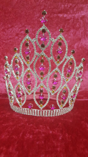 "8"" Beauty Pageant Queen Pink Rhinestone Crown Silver w adjustable band"