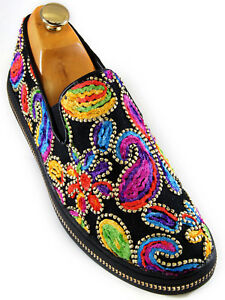 fiesso mens multicolor floral stitch embellished fashion