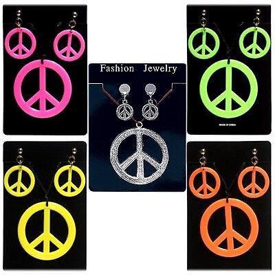 Accurato Nuovo Anni'60 Anni'70 Hippie Hippy Pace Firmare Medallion Gioielli Set Fancy Dress-mostra Il Titolo Originale Rinfrescante E Arricchente La Saliva