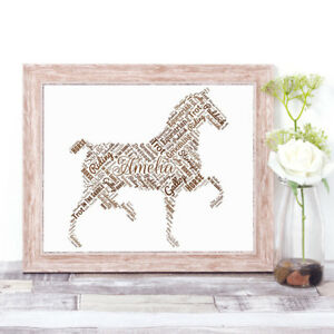 Personalised HORSE Word Art Print Typography Gift Stocking Filler Riding Rider - London, United Kingdom - Personalised HORSE Word Art Print Typography Gift Stocking Filler Riding Rider - London, United Kingdom