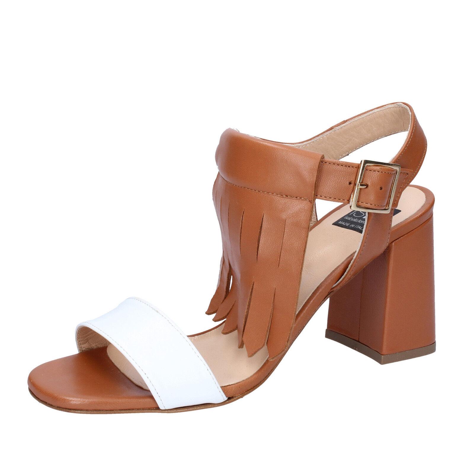 Scarpe donna ISLO ISABELLA LORUSSO 39 EU sandali marrone bianco pelle BZ332-D