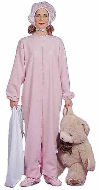 Pink Adult Jammies Big Baby Girl Pajamas Pyjamas Fancy Dress Halloween  Costume 48a0009aa