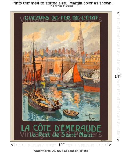 French Railways Travel Poster La Cote d/'Emeraude 4 sizes, matte+glossy avail