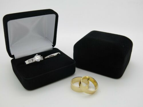 Bride /& Groom Luxury Black Velvet Double Wedding Ring Bearer Box