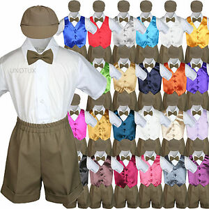 375fbe107 Baby Boy Toddler Formal Vest Shorts Suit Color Vest 5pc D Khaki Bow ...